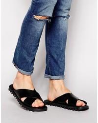 Sandales en cuir noires Diesel