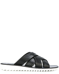 Sandales en cuir noires Dolce & Gabbana