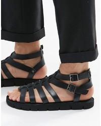 Sandales en cuir noires Dune