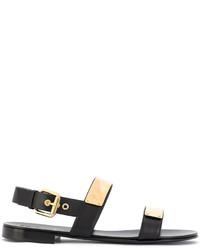 Sandales en cuir noires Giuseppe Zanotti Design