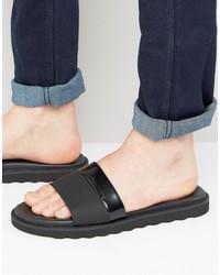 Sandales en cuir noires Hugo Boss