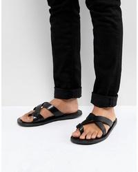 Sandales en cuir noires Pier One