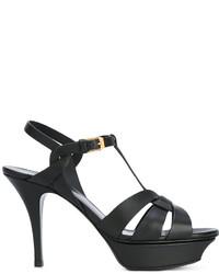 Sandales en cuir noires Saint Laurent