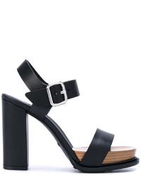 Sandales en cuir noires Tod's