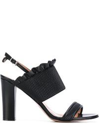 Sandales en cuir noires Twin-Set