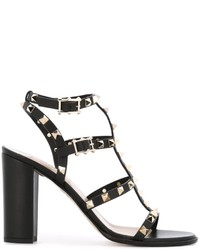 Sandales en cuir noires Valentino Garavani