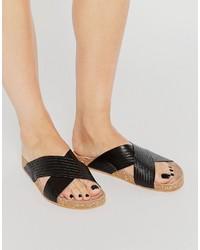 Sandales en cuir noires Vero Moda
