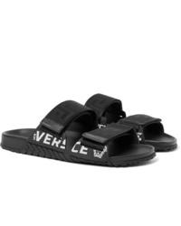 Sandales en cuir noires Versace