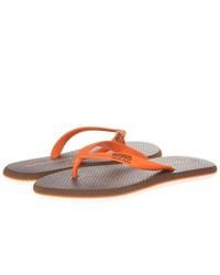 Sandales en cuir orange