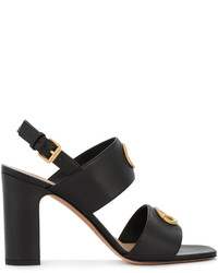 Sandales en cuir ornées noires Valentino