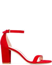 Sandales en cuir rouges Stuart Weitzman