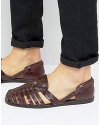 Sandales en cuir tressées bordeaux Asos
