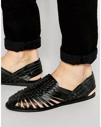 Sandales en cuir tressées noires Asos