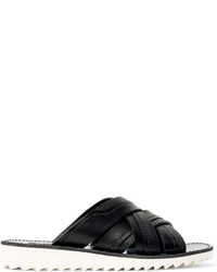 Sandales en cuir tressées noires Dolce & Gabbana