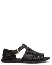 Sandales en cuir tressées noires Officine Creative