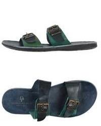 Sandales en cuir vert foncé
