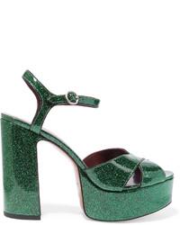 Sandales en cuir vert foncé Marc Jacobs