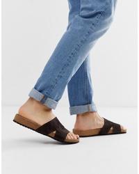 Sandales en daim gris foncé ASOS DESIGN