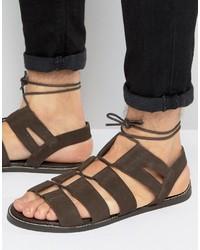 Sandales en daim marron foncé Asos