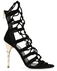 Sandales en daim noires Balmain