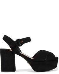 Sandales en daim noires Prada