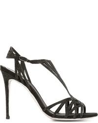 Sandales en daim noires Rene Caovilla
