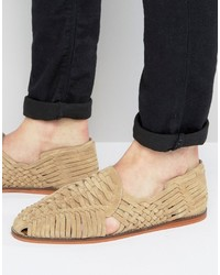 Sandales en daim tressées beiges Asos