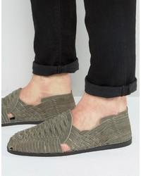 Sandales en daim tressées grises Asos