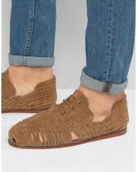 Sandales en daim tressées marron clair Asos
