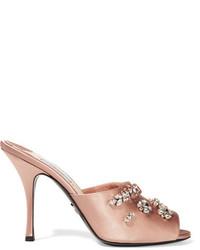 Sandales en satin ornées roses Prada