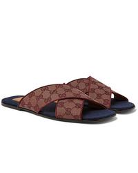 Sandales en toile bordeaux Gucci
