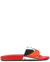 Sandales imprimées rouges Versace