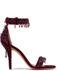 Sandales ornées bordeaux Givenchy