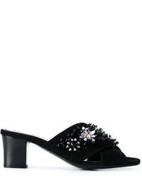 Sandales ornées noires Lanvin