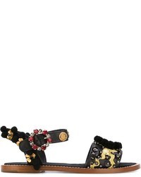 Sandales pailletées ornées noires Dolce & Gabbana