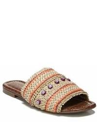 Sandales plates de paille beiges