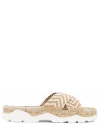 Sandales plates de paille beiges Stella McCartney