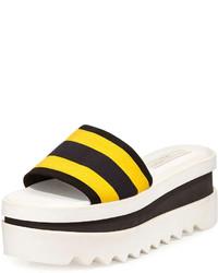 Sandales plates élastiques à rayures horizontales jaunes