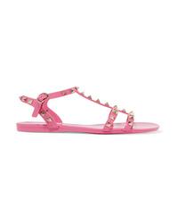 Sandales plates en caoutchouc à clous fuchsia Valentino