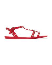 Sandales plates en caoutchouc à clous rouges Valentino