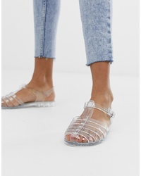 Sandales plates en caoutchouc transparentes Glamorous