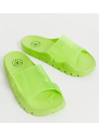 Sandales plates en caoutchouc vertes Missguided