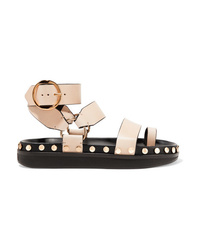 Sandales plates en cuir à clous beiges Isabel Marant