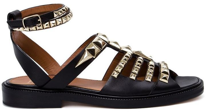 Acheter sandales plates en cuir à clous noires Givenchy