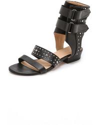 Sandales plates en cuir à clous noires IRO