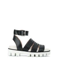 Sandales plates en cuir à clous noires RED Valentino