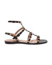 Sandales plates en cuir à clous noires Valentino