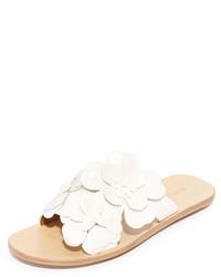 Sandales plates en cuir à fleurs beiges See by Chloe