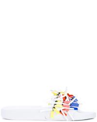 Sandales plates en cuir à franges blanches MSGM