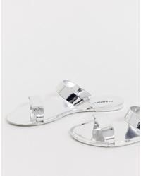 Sandales plates en cuir argentées Glamorous